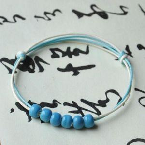 Blue Ceramic Beaded Rope Chain Bangle Bracelet